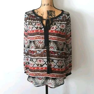 Anthropologie Black Rainn Sheer Floral Boho Top